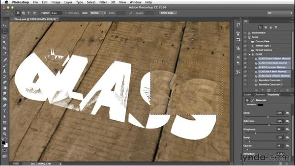 Modifying the materials and partial rendering: Creating 3D Type in Photoshop