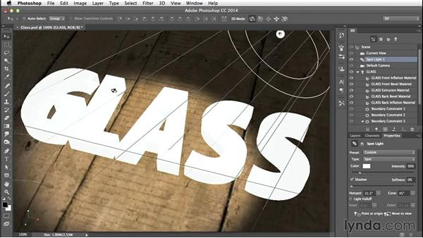 Adjusting the lighting: Creating 3D Type in Photoshop