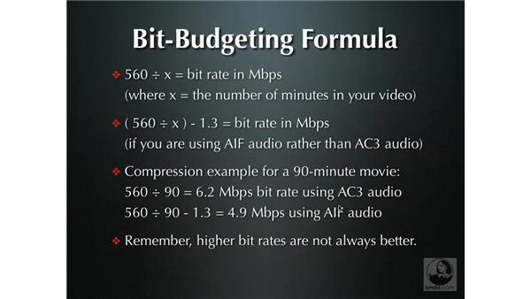 Bit-budgeting: DVD Studio Pro 4 + Compressor 2 New Features
