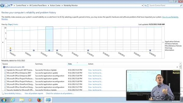 The Reliability Monitor: Managing Windows 7