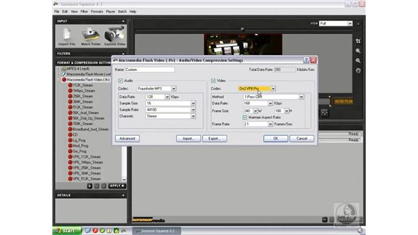 Encoding using Sorenson Squeeze: Flash Professional 8 Video Integration