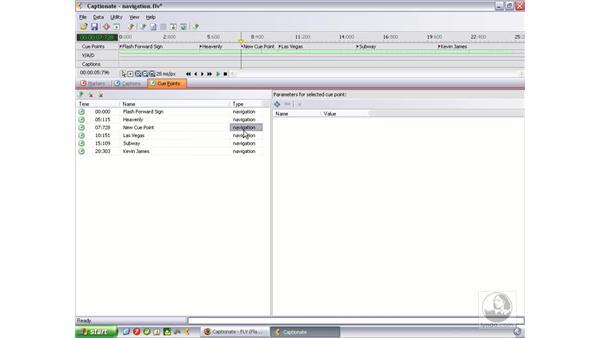 Adding cue points using Captionate: Flash Professional 8 Video Integration