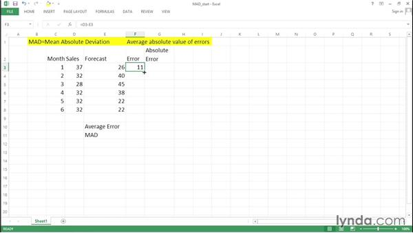 Computing the mean absolute deviation (MAD): Excel Data Analysis: Forecasting