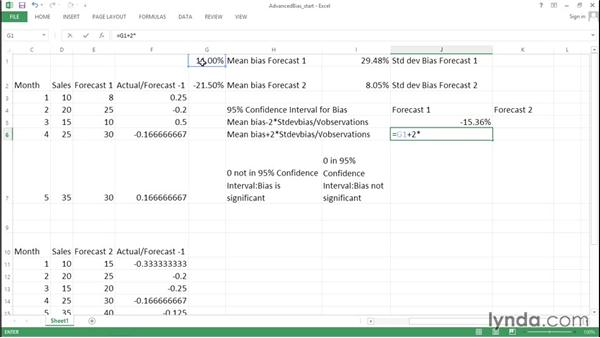 Advanced forecast bias: Determining significance: Excel Data Analysis: Forecasting