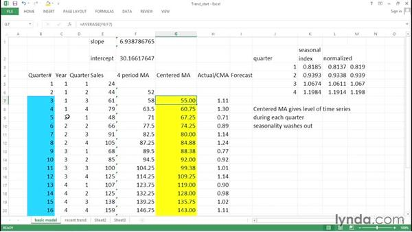 Estimating a series trend: Excel Data Analysis: Forecasting