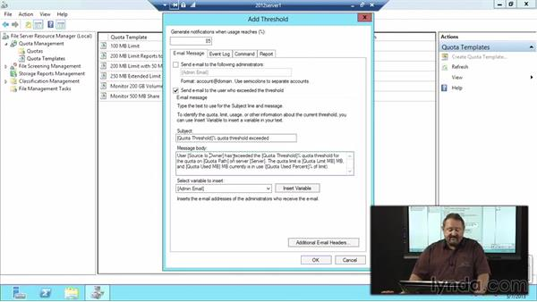 Configuring disk quotas: Windows Server 2012 Active Directory: File System and Storage