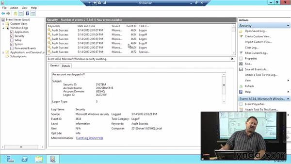 Viewing audit events: Windows Server 2012 Active Directory: File System and Storage