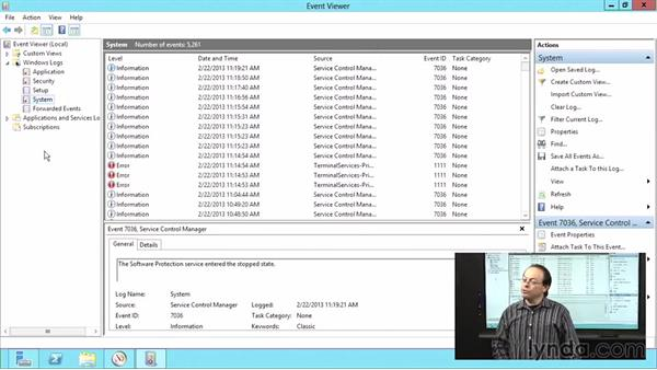 Viewing system events in Windows Server 2012: Windows Server 2012 Active Directory: File System and Storage