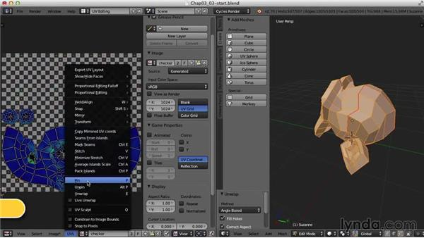 Pinning and Live Unwrap: Blender UV Mapping