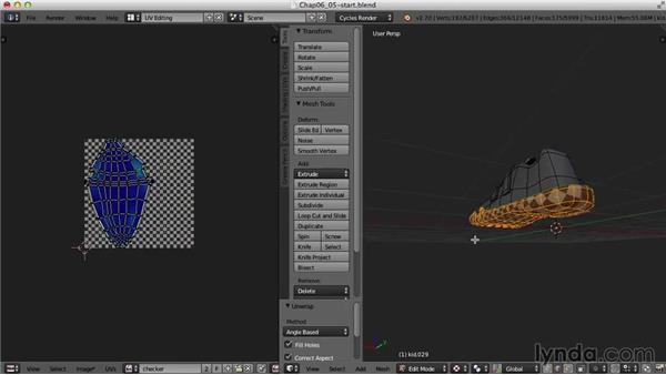 The shoes: Blender UV Mapping