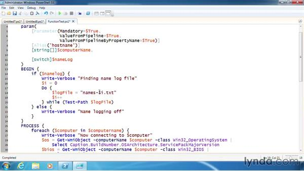 Implement logging in a function: PowerShell 3.0 Scripting and Tool Making