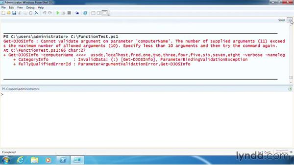 Validate user input to a function: PowerShell 3.0 Scripting and Tool Making