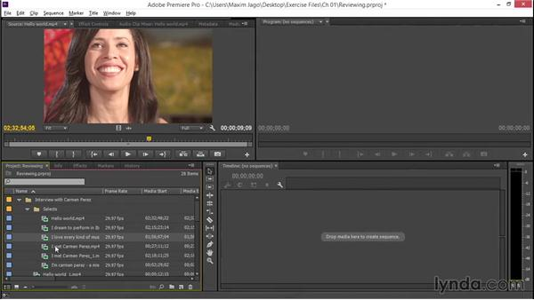 Reviewing media files: EPK Editing Workflows 01: Ingest to Assembly Edit