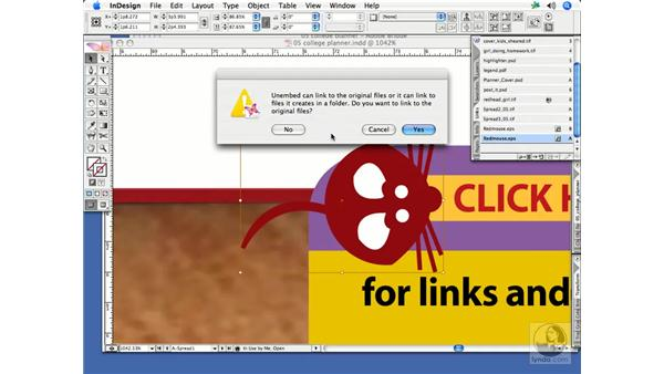 Embedding links: InDesign CS2 Print Project Workflow