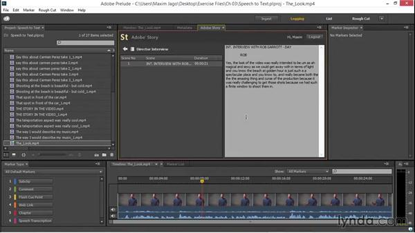 Adding speech data with Adobe Story: EPK Editing Workflows 01: Ingest to Assembly Edit