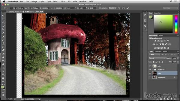 Adding forest to the scene: Bert Monroy: Dreamscapes - Mushroom House