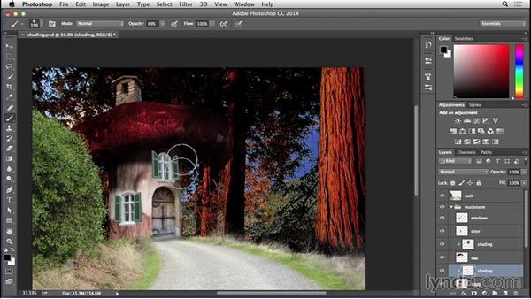 Adding shading: Bert Monroy: Dreamscapes - Mushroom House