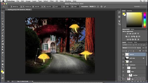 Adding the lanterns: Bert Monroy: Dreamscapes - Mushroom House
