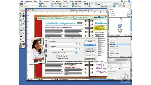 Using Find/Change: InDesign CS2 Print Project Workflow