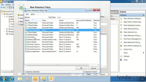 Use retention policies: Exchange Server 2010: Designing and Implementing