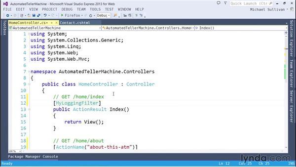 Using filters: ASP.NET MVC 5 Essential Training