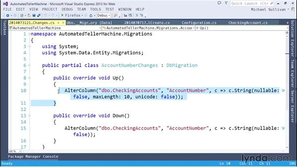 Running Entity Framework Code First Migrations: ASP.NET MVC 5 Essential Training