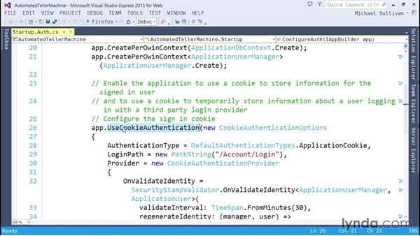 Configuring local authentication: ASP.NET MVC 5 Essential Training