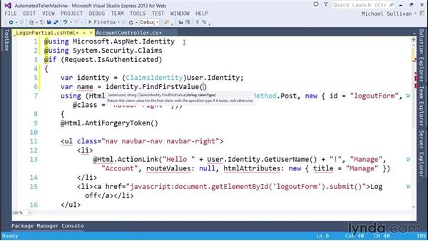 ASP.NET identity and the user manager: ASP.NET MVC 5 Essential Training