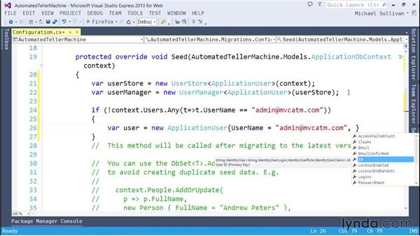 Seeding roles and assignments: ASP.NET MVC 5 Essential Training