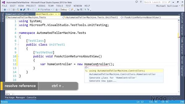 Creating unit tests: ASP.NET MVC 5 Essential Training