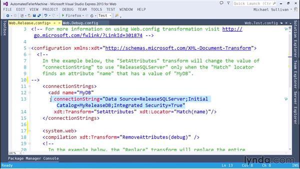 Using Web.config transformations: ASP.NET MVC 5 Essential Training