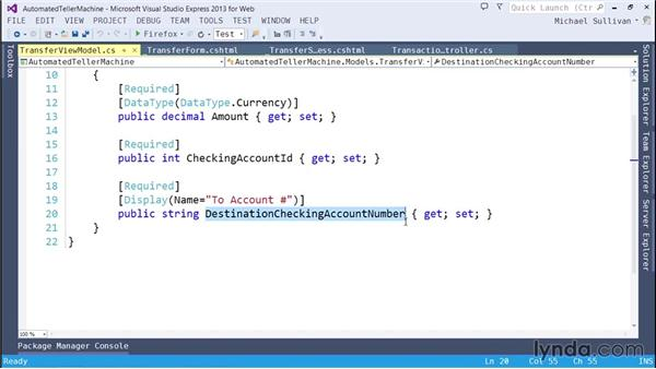 Solution: Implementing transfers: ASP.NET MVC 5 Essential Training