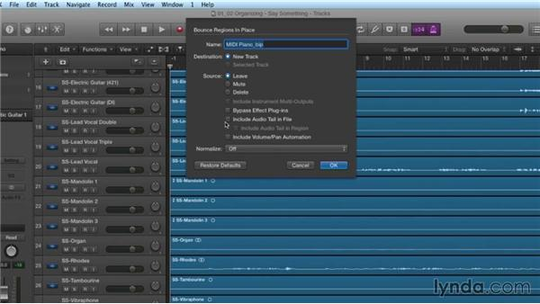 Organizing your project: Mixing and Mastering with Logic Pro X