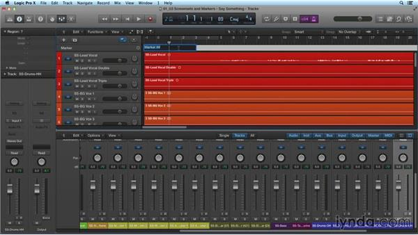 Using screensets and markers: Mixing and Mastering with Logic Pro X