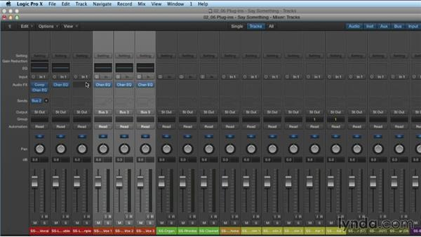 Working with plugins and Channel Strip settings in the Mixer: Mixing and Mastering with Logic Pro X