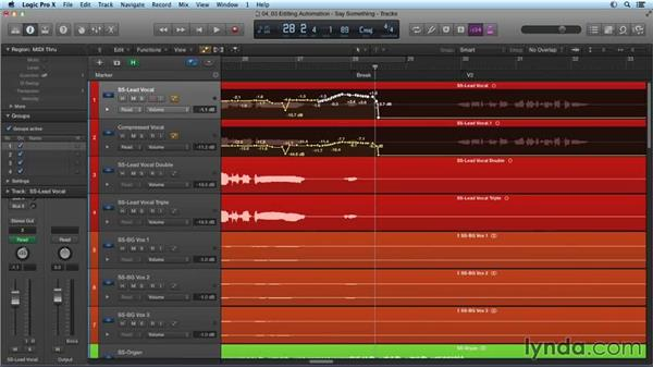 Editing automation: Mixing and Mastering with Logic Pro X