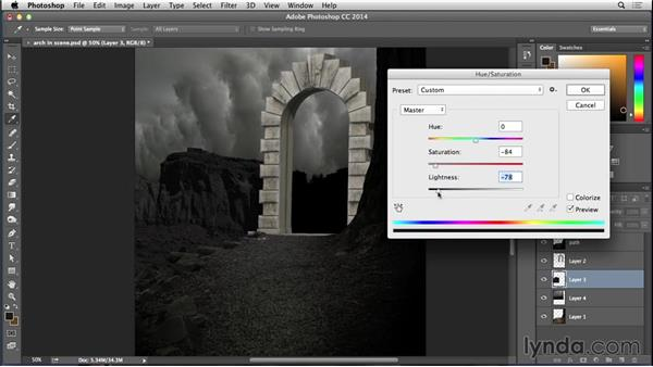 Adding the background elements: Bert Monroy: Dreamscapes - Arch to Somewhere Else