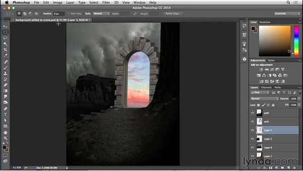 Adding light elements to the arch scene: Bert Monroy: Dreamscapes - Arch to Somewhere Else