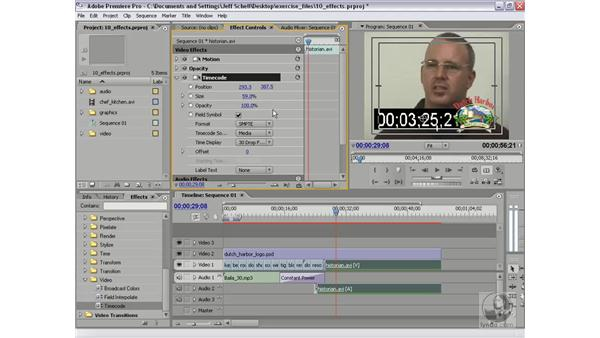 The timecode effect and transparent video clip: Premiere Pro 2 New Features