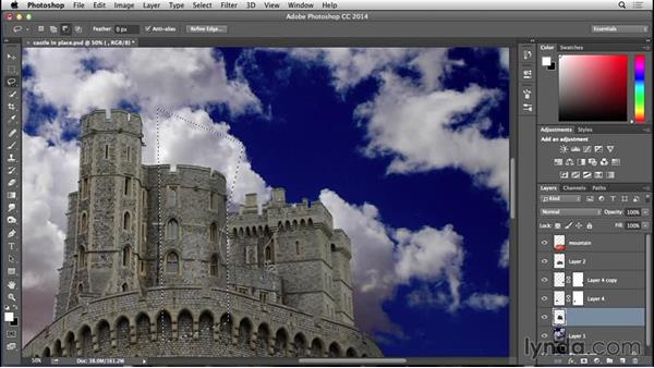 Shading the castle to match tones: Bert Monroy: Dreamscapes - Castle on the Mountain