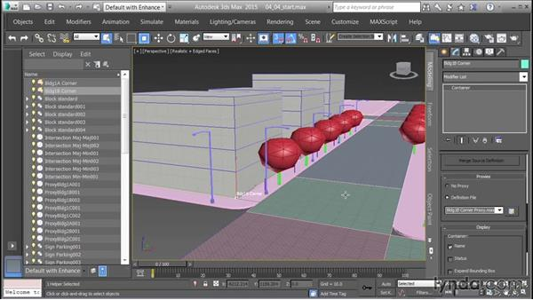 Using the proxies and the Container Explorer: Creating Cityscapes in 3ds Max