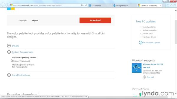 Installing the SharePoint Color Palette tool: SharePoint Designer 2013: Branding SharePoint Sites