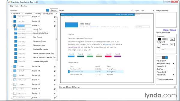 Creating a custom color palette: SharePoint Designer 2013: Branding SharePoint Sites