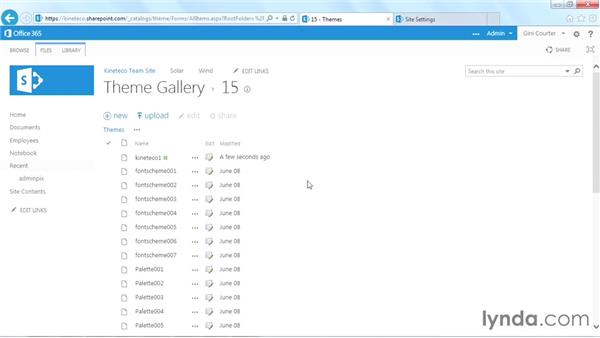 Adding the custom palette to the Theme Gallery: SharePoint Designer 2013: Branding SharePoint Sites