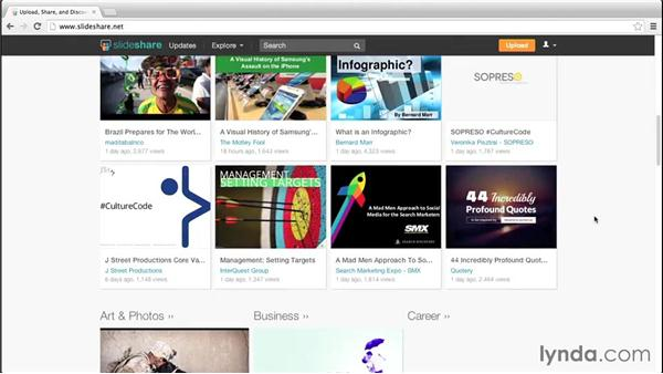 Exploring the SlideShare interface: Up and Running with Slideshare
