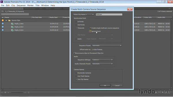 Syncing with timecode: Premiere Pro Guru: Multi-Camera Video Editing