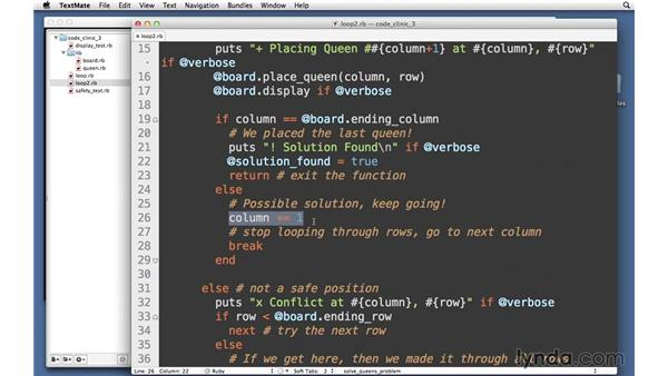 Loops with backtracking: Code Clinic: Ruby