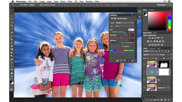 Colorizing the background with Hue/Saturation: Creative Blurring with Photoshop