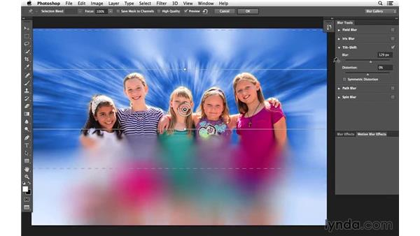 Creating a tilt-shift blur on the merged layer: Creative Blurring with Photoshop