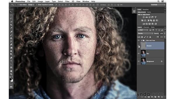 Sharpening and reviewing the project: Creative Blurring with Photoshop